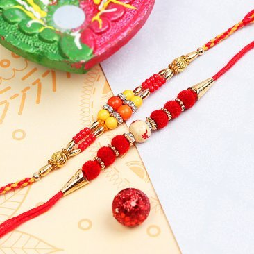 Set of Swastik and Pearl Rakhis