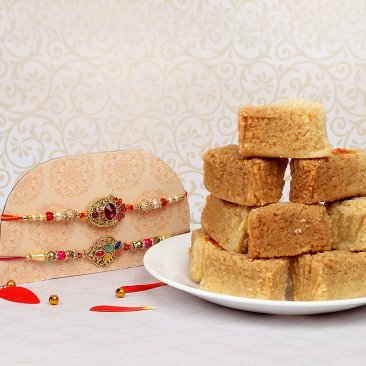 Two Rakhis Set with Half Kg Milk Cake