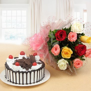 Sweet Melody - Combo of 10 mix roses with half kg black forest cake