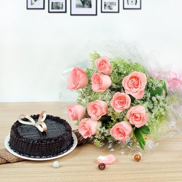 Tempting Exuberance - 10 Pink Roses and Half kg Chocolate Truffle Cake