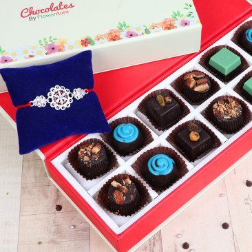 Rakhi with Twelve Mixed Flavored Handmade Chocolates