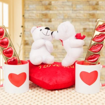 White teddy Couple with Mugs and Chocolates