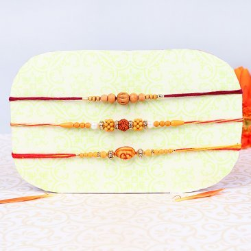 The Spiritual Protection - Set of Three Divine and Rudraksh Rakhis