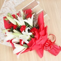 3 White Lilies and 10 Red Carnations in Horizontal View