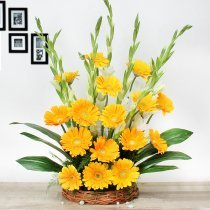 15 yellow Gerberas and 10 White Glads in Basket