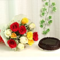 Sweet Gesture - 12 mix roses bunch with half kg cake