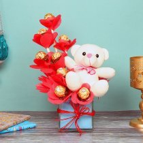 Bouquet of Ferrero Rocher Chocolates with a Teddy