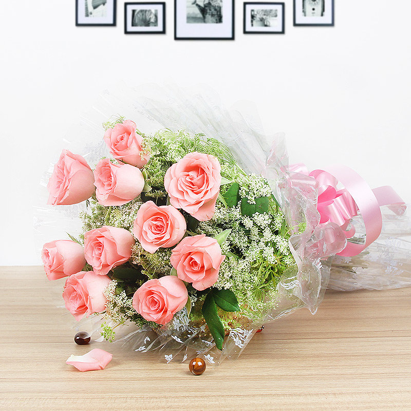 10 Pink Roses - A Part of Tempting Exuberance