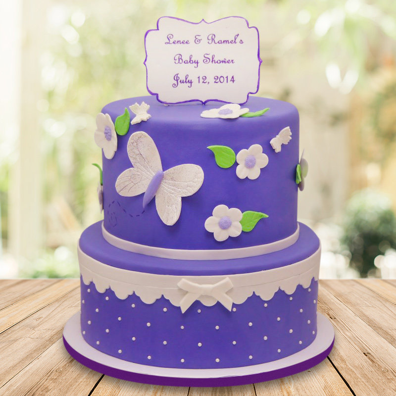 Two tier butterfly designer cake